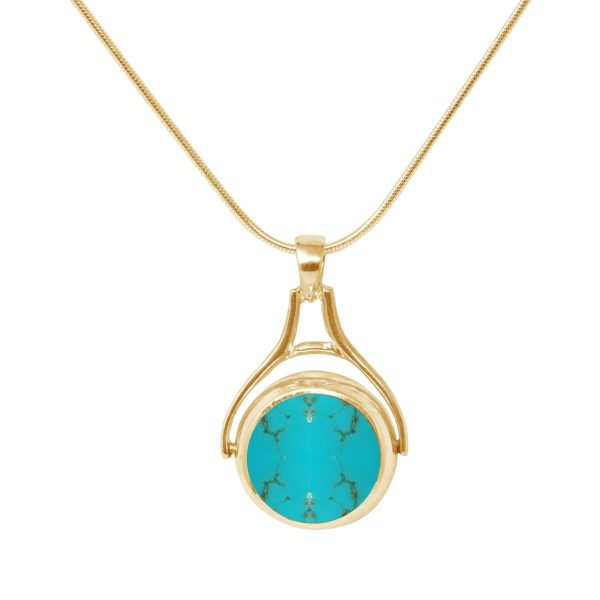 Yellow Gold Turqoise Round Double Sided Pendant