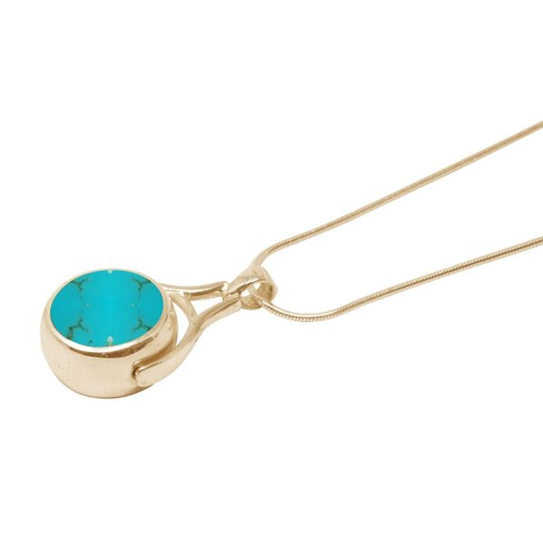 Yellow Gold Turquoise Round Double Sided Pendant