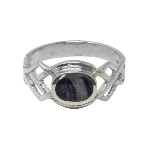 Silver Blue John Celtic Ring