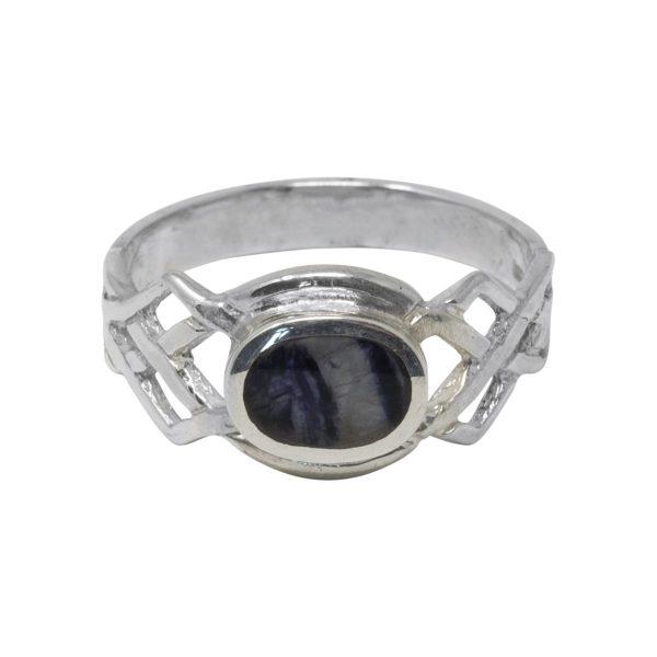 Silver Blue John Celtic Ring