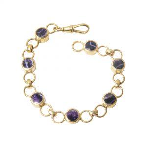 Gold blue john bracelet
