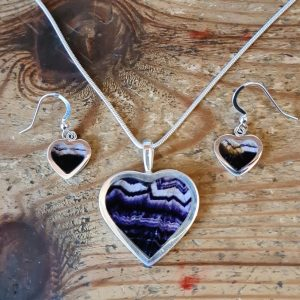 Silver Heart Shaped Pendant and Earring Set