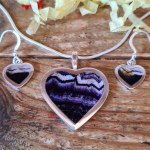 INS302 Heart Shaped Pendant and Earrings Set