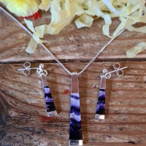 INS303 Long Tapered Pendant and Earrings Set