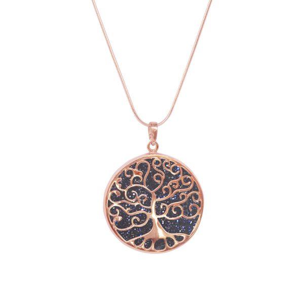 Rose Gold Blue Goldstone Tree of Life Pendant
