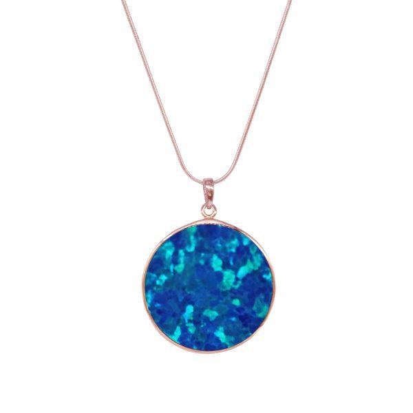Rose Gold Opalite Cobalt Blue Tree of Life Pendant