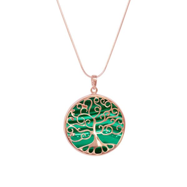Rose Gold Malachite Tree of Life Pendant