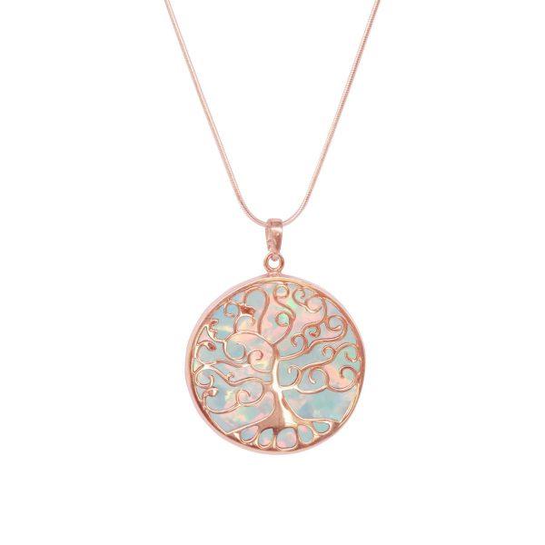 Rose Gold Opalite Tree of Life Pendant