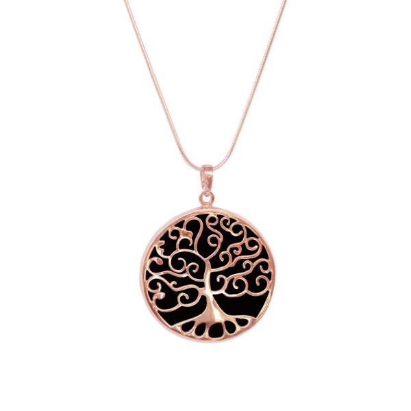 Rose Gold Whitby Jet Tree of Life Pendant