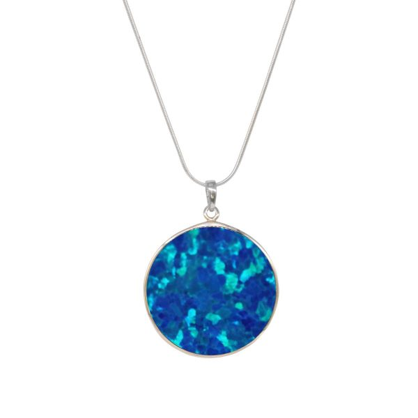 Silver Opalite Cobalt Blue Tree of Life Pendant