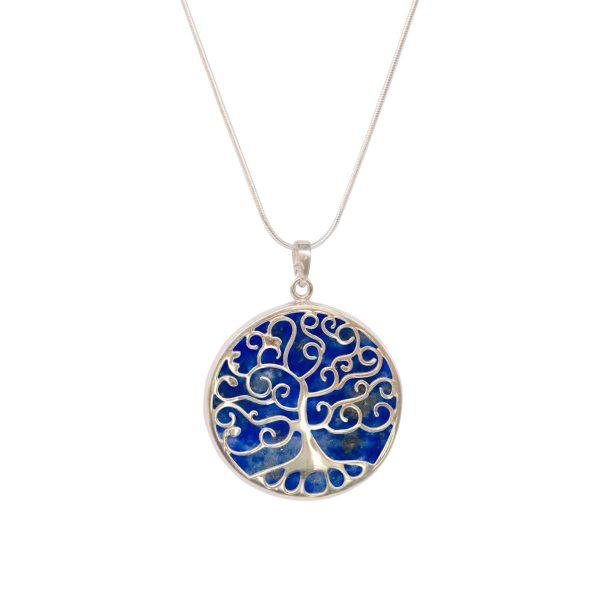 Silver Lapis Tree of Life Pendant