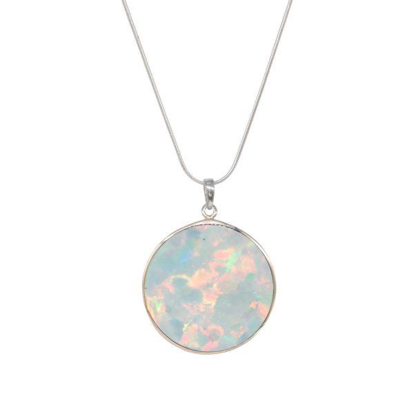 Silver Opalite Sun Ice Tree of Life Pendant