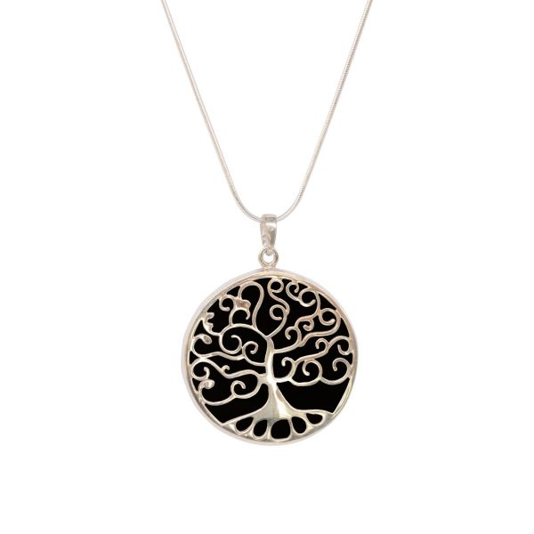 Silver Whitby Jet Tree of Life Pendant