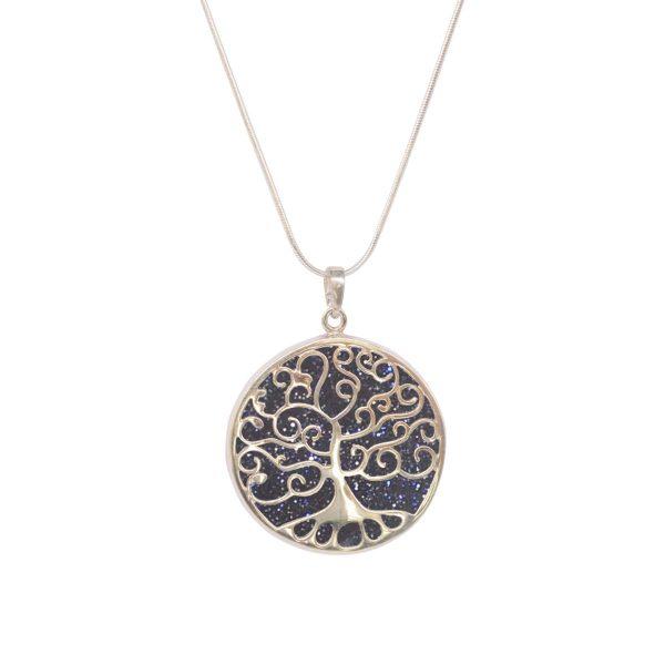 White Gold Blue Goldstone Round Double Sided Tree of Life Pendant