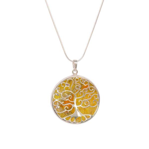 White Gold Bumblebee Jasper Round Double Sided Tree of Life Pendant