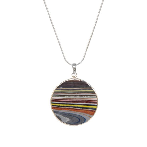 White Gold Fordite Round Double Sided Tree of Life Pendant