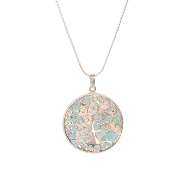 White Gold Opalite Sun Ice Round Double Sided Tree of Life Pendant