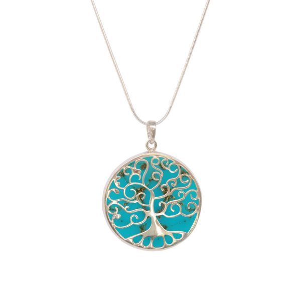 White Gold Turquoise Round Double Sided Tree of Life Pendant