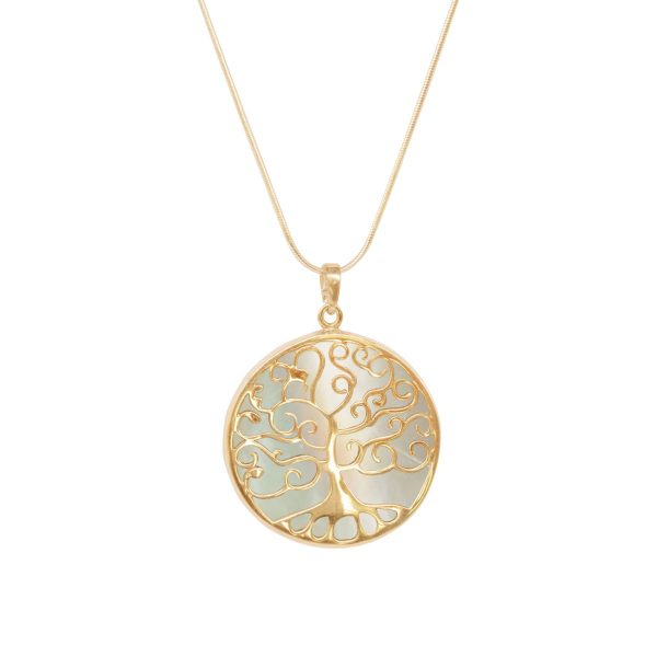 Yellow Gold Mother of Pearl Tree of Life Pendant