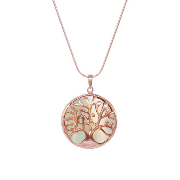 Rose Gold Mother of Pearl Tree of Life Pendant