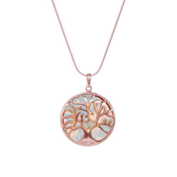Rose Gold Opalite Sun Ice Tree of Life Pendant