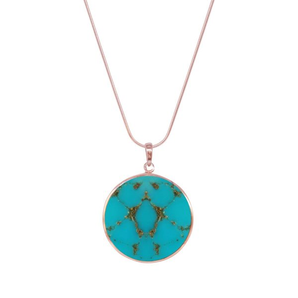 Rose Gold Turquoise Tree of Life Pendant