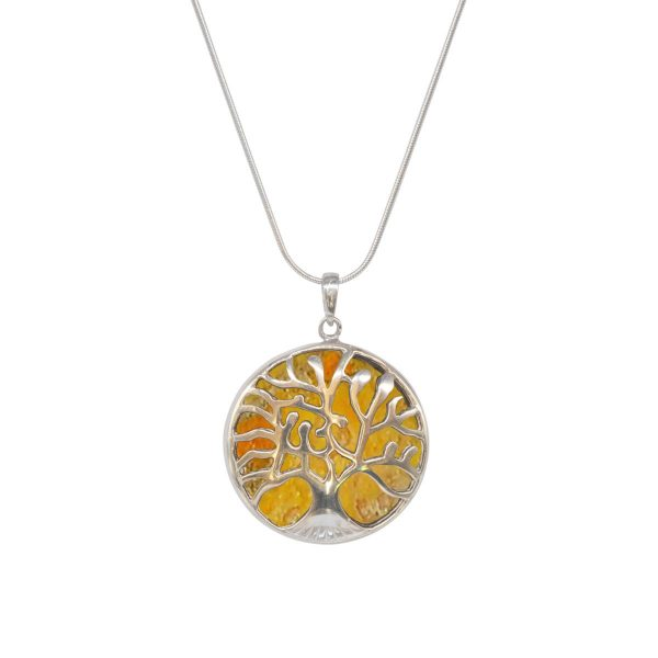 Silver Bumblebee Jasper Tree of Life Pendant