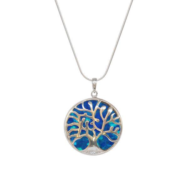Silver Cobalt Blue Opalite Tree of Life Pendant