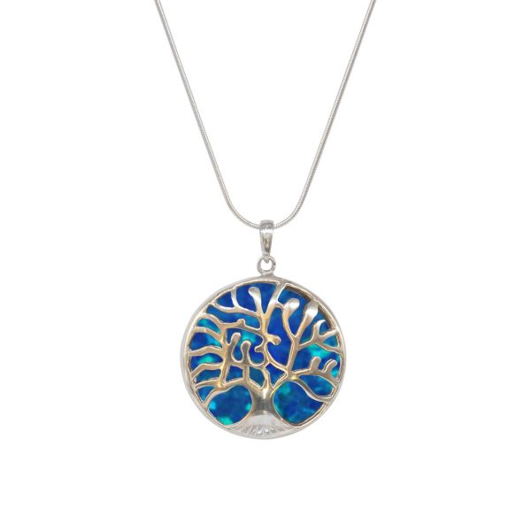 White Gold Opalite Cobalt Blue Round Double Sided Tree of Life Pendant