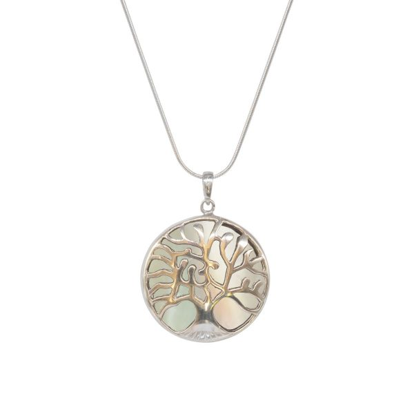 White Gold Mother of Pearl Round Double Sided Tree of Life Pendant
