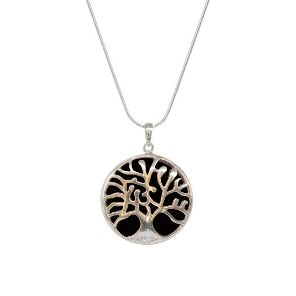 White Gold Whitby Jet Round Double Sided Tree of Life Pendant