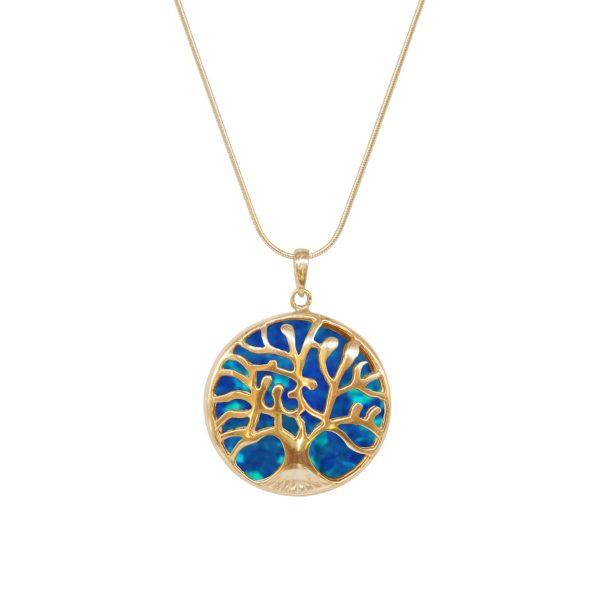 Yellow Gold Opalite Cobalt Blue Tree of Life Pendant