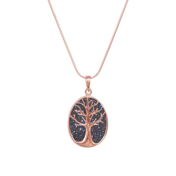Rose Gold Blue Goldstone Tree of Life Pendant