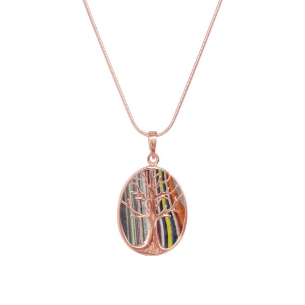 Rose Gold Fordite Tree of Life Pendant