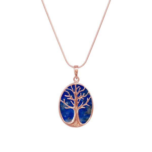 Rose Gold Lapis Tree of Life Pendant