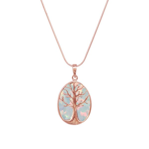 Rose Gold Sun Ice Tree of Life Pendant