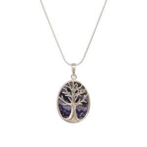 Silver Blue John Tree of Life Pendant