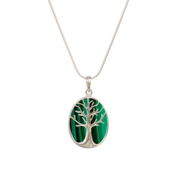 Silver Malachite Tree of Life Pendant