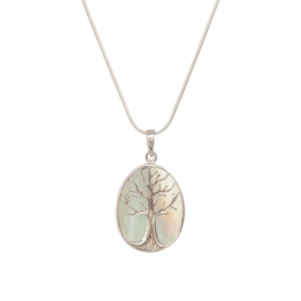 Silver Mother of Pearl Tree of Life Pendant