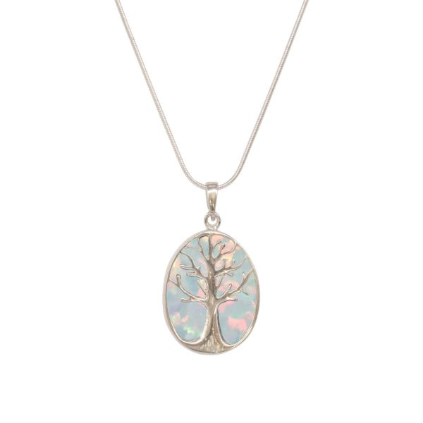 Silver Opalite Sun Ice Tree of Life Pendant