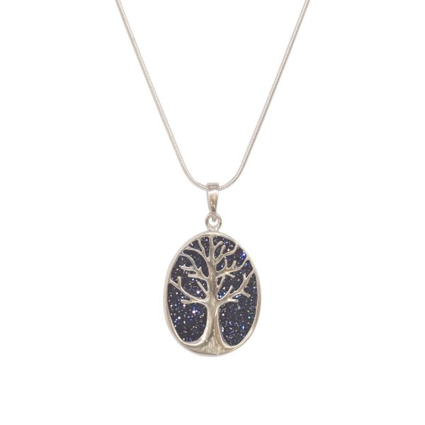 White Gold Blue Goldstone Oval Double Sided Tree of Life Pendant