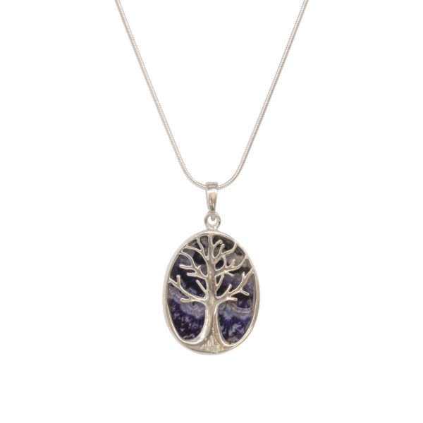 White Gold Blue John Oval Double Sided Tree of Life Pendant