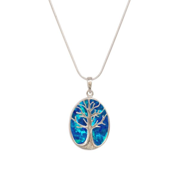 White Gold Opalite Cobalt Blue Oval Double Sided Tree of Life Pendant