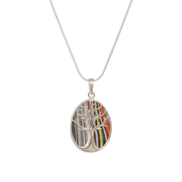 White Gold Fordite Oval Double Sided Tree of Life Pendant