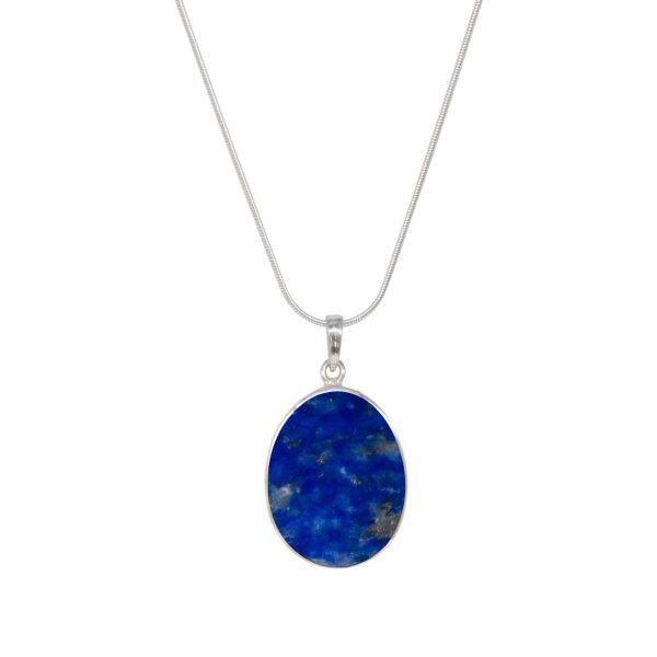White Gold Lapis Oval Double Sided Tree of Life Pendant
