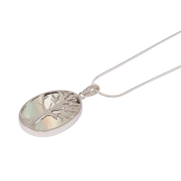 White Gold Mother of Pearl Oval Double Sided Tree of Life Pendant