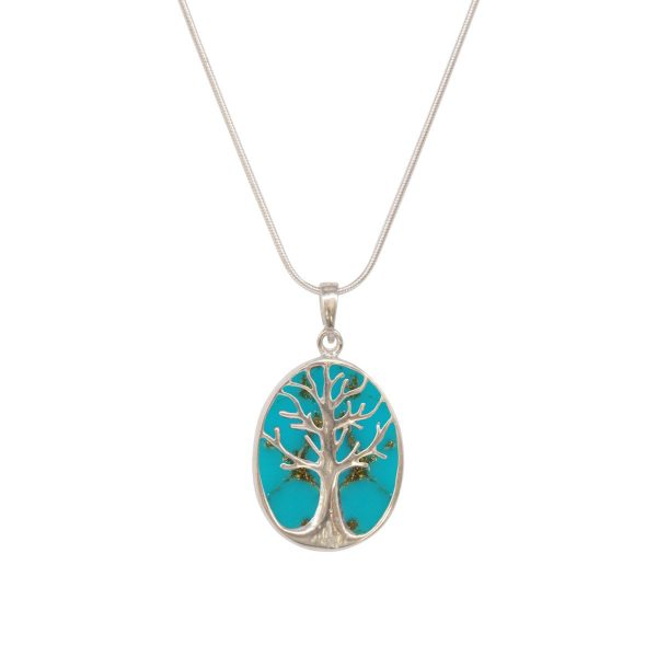 White Gold Turquoise Oval Double Sided Tree of Life Pendant