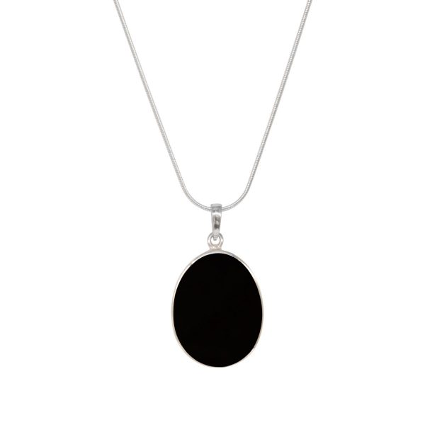 White Gold Whitby Jet Oval Double Sided Tree of Life Pendant
