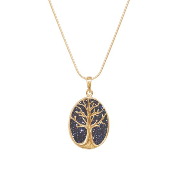 Yellow Gold Blue Goldstone Tree of Life Pendant