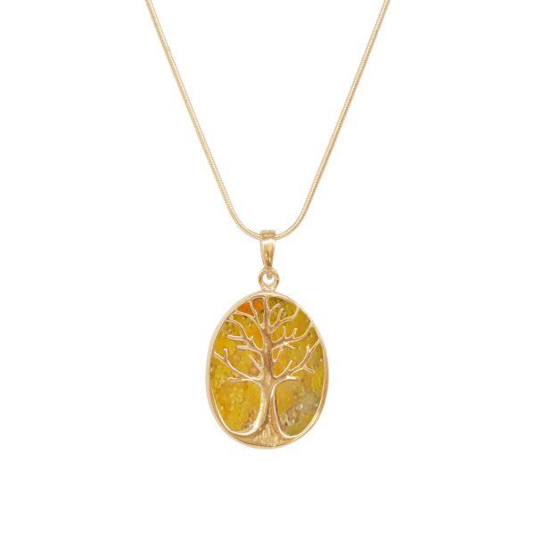 Yellow Gold Bumblebee Jasper Tree of Life Pendant